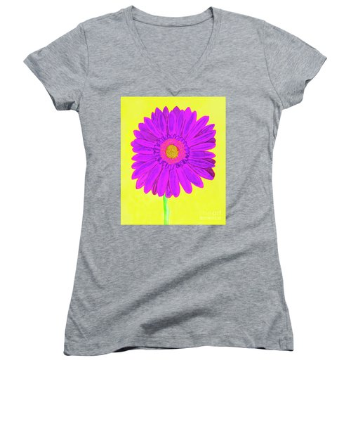 Purple  Gerbera On Yellow, Watercolor Women's V-Neck (Athletic Fit)