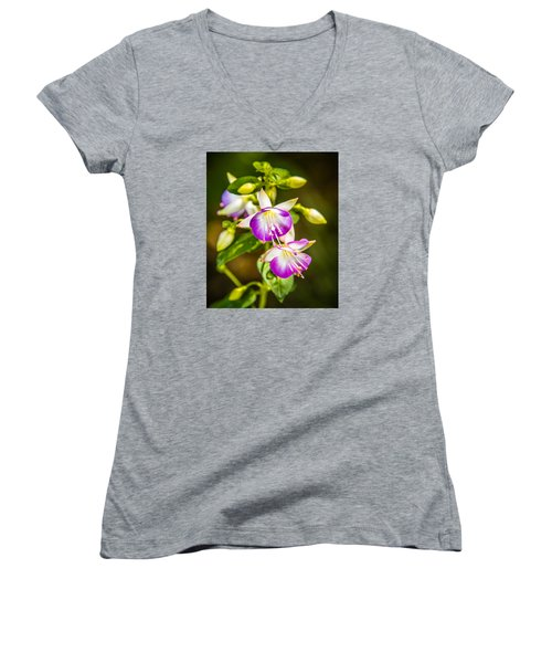 Purple Glow Women's V-Neck T-Shirt (Junior Cut) by Jerry Cahill