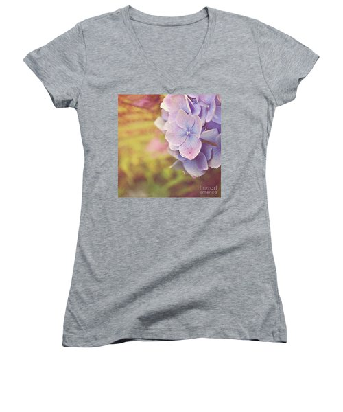 Women's V-Neck T-Shirt (Junior Cut) featuring the photograph Purple Hydrangea by Lyn Randle