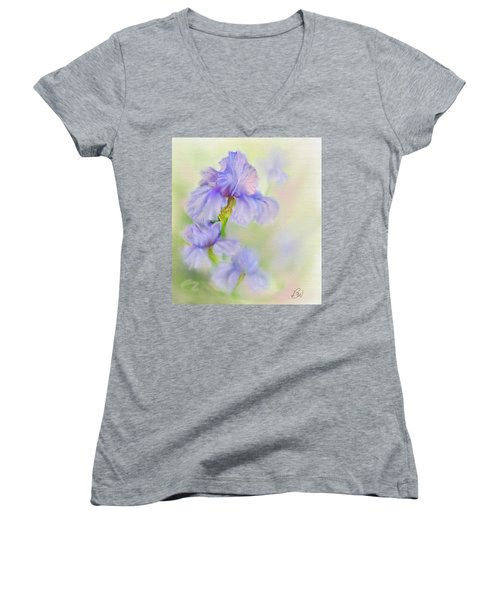 Women's V-Neck T-Shirt (Junior Cut) featuring the painting Purple Iris by Bonnie Willis