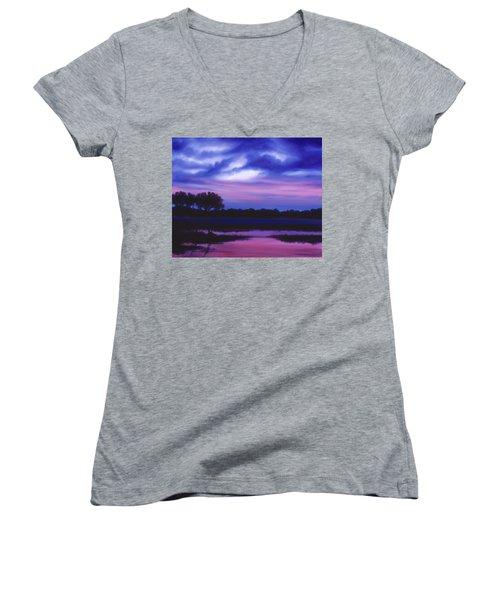 Purple Landscape Or Jean's Clearing Women's V-Neck