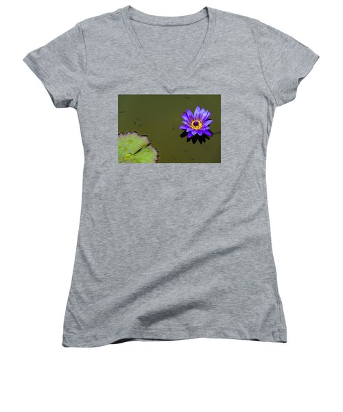Purple Lily With Tiny Fish Women's V-Neck
