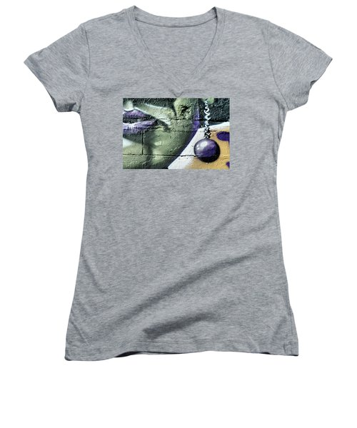 Purple Lips And Earring Women's V-Neck T-Shirt