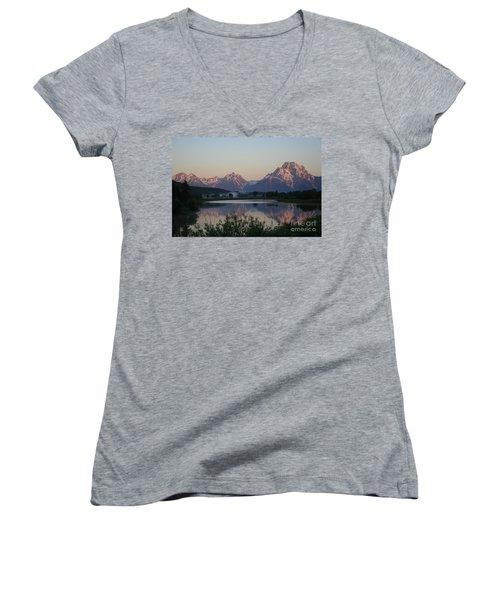 Women's V-Neck T-Shirt (Junior Cut) featuring the photograph Purple Mountain Majesty  by Paula Guttilla