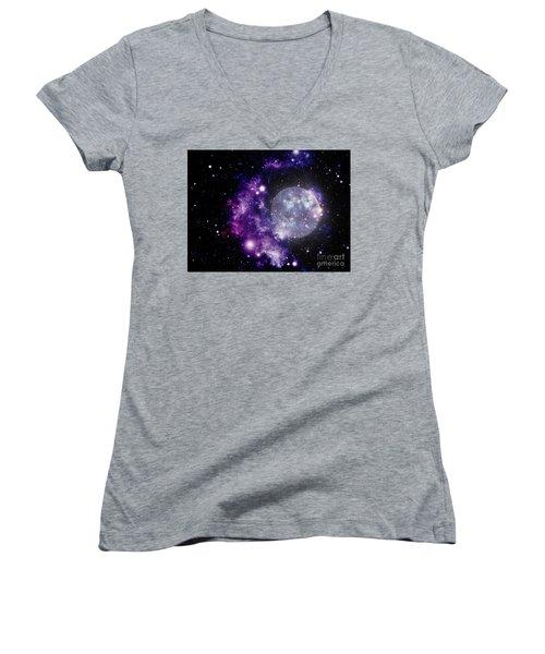 Purple Nebula Women's V-Neck T-Shirt (Junior Cut)