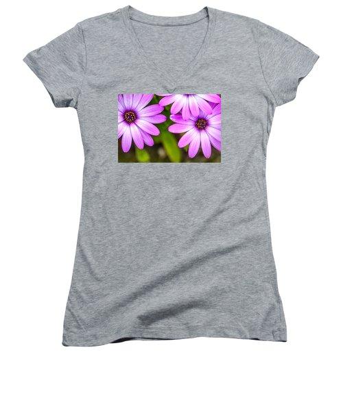 Purple Petals Women's V-Neck