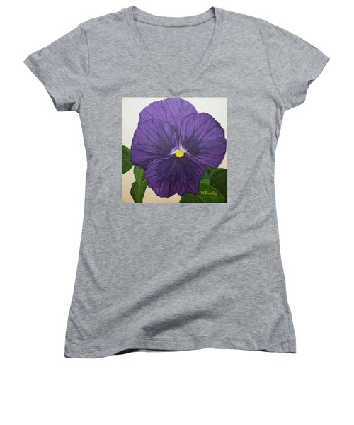 Women's V-Neck T-Shirt (Junior Cut) featuring the painting Purple Pansy by Wendy Shoults