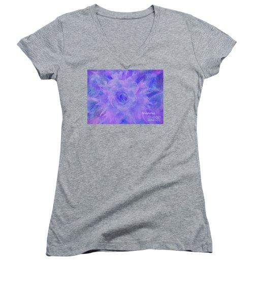 Purple Passion By Sherriofpalmspringsflower Art-digital Painting  Photography Enhancements Tradition Women's V-Neck T-Shirt (Junior Cut) by Sherri's Of Palm Springs