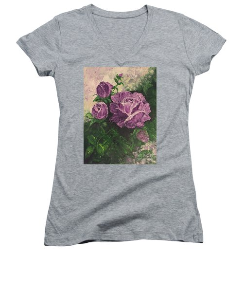 Purple Passion Women's V-Neck T-Shirt (Junior Cut) by Lucia Grilletto