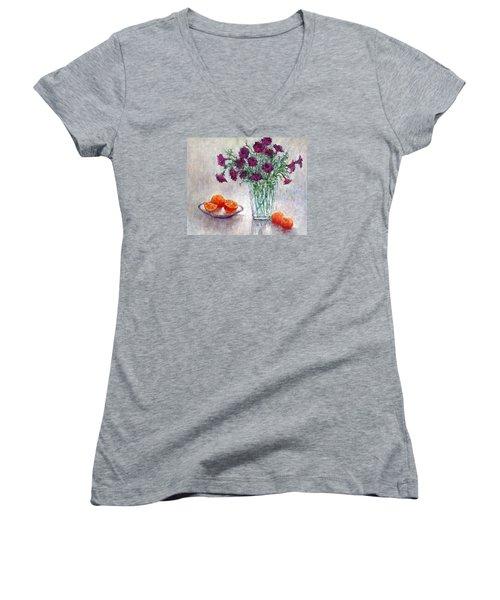 Purple Petunias And Oranges Women's V-Neck T-Shirt