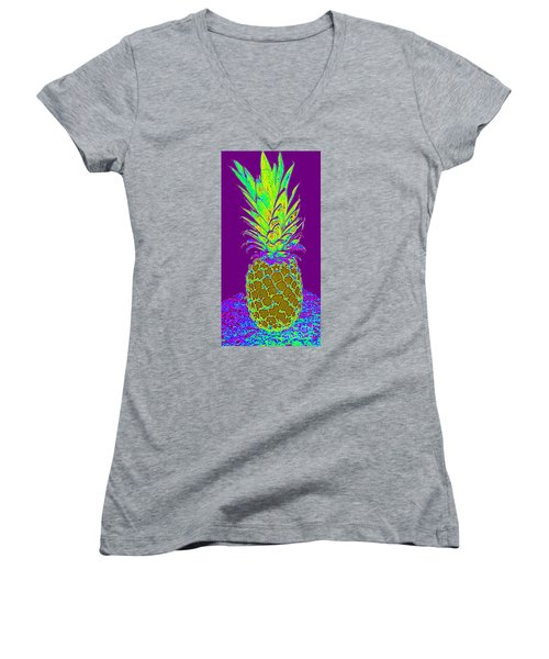 Purple Pineapple Women's V-Neck (Athletic Fit)