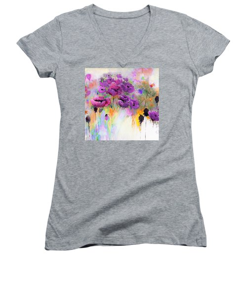 Purple Poppy Passion Painting Women's V-Neck T-Shirt (Junior Cut) by Lisa Kaiser