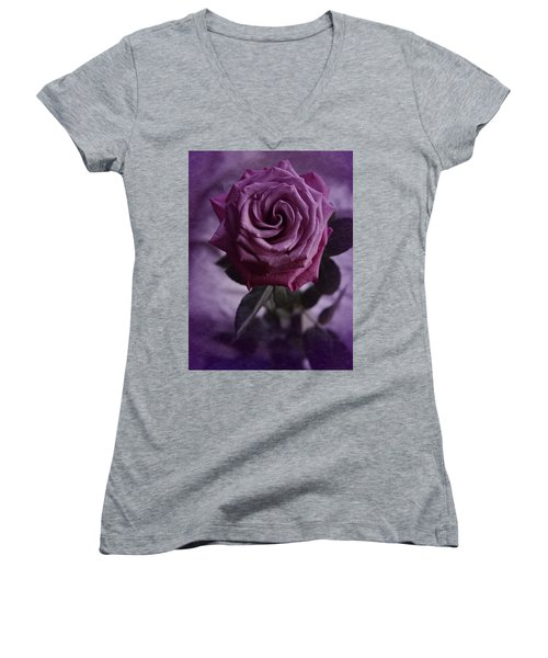 Purple Rose Of December Women's V-Neck T-Shirt (Junior Cut) by Richard Cummings