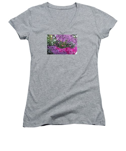 Purple Roses, Pinks And White Women's V-Neck
