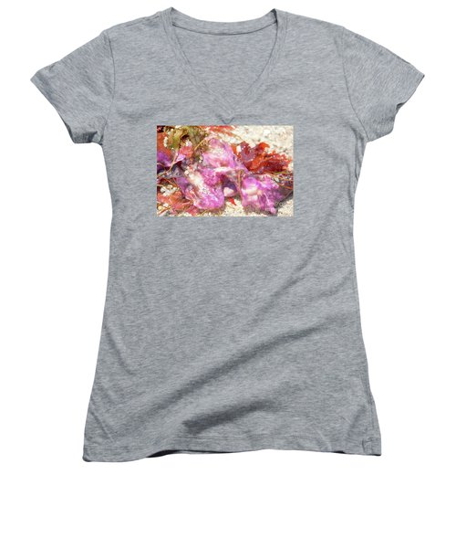 Purple Seaweed In Pacific Grove Women's V-Neck T-Shirt