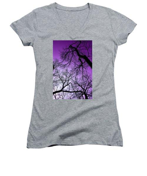 Purple Sky Women's V-Neck (Athletic Fit)