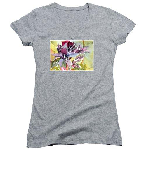 Purple Stem Aster Women's V-Neck T-Shirt (Junior Cut) by Mindy Newman