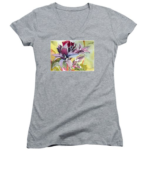 Purple Stem Aster Women's V-Neck T-Shirt
