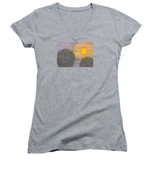 Purple Sunset Women's V-Neck T-Shirt (Junior Cut) by Charles Cater