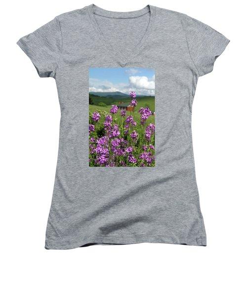 Purple Wild Flowers On Field Women's V-Neck T-Shirt (Junior Cut) by Emanuel Tanjala