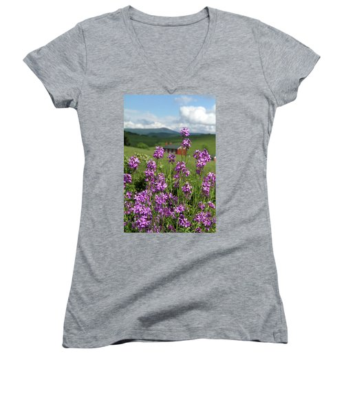 Purple Wild Flowers On Field Women's V-Neck T-Shirt