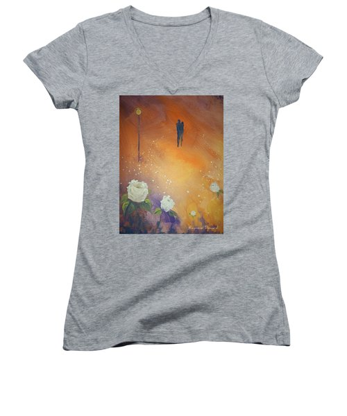Women's V-Neck T-Shirt (Junior Cut) featuring the painting Purpose by Raymond Doward