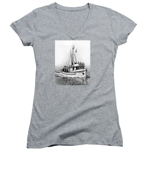 Purse Seiner Western Flyer On Her Sea Trials Washington 1937 Women's V-Neck T-Shirt (Junior Cut) by California Views Mr Pat Hathaway Archives