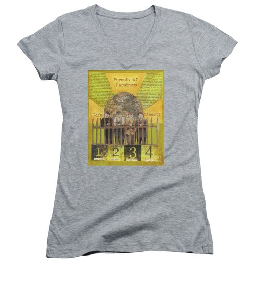 Women's V-Neck T-Shirt (Junior Cut) featuring the mixed media Pursuit Of Happiness by Desiree Paquette