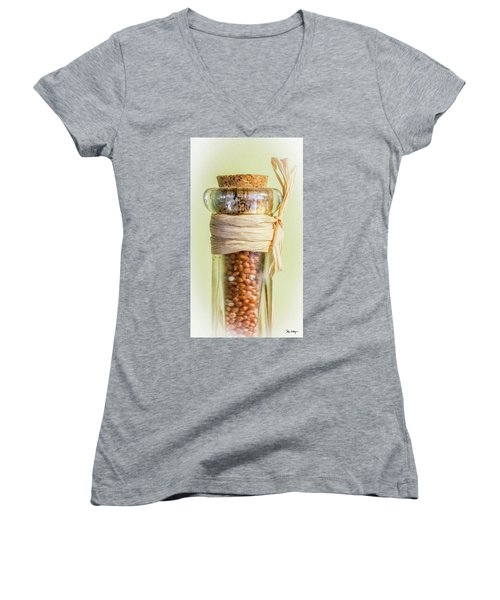 Put A Cork In It Women's V-Neck T-Shirt (Junior Cut) by Skip Tribby