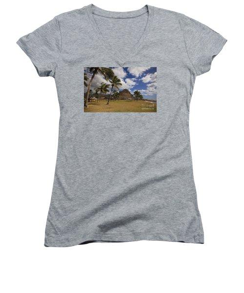 Women's V-Neck T-Shirt (Junior Cut) featuring the photograph Puu O Hulu Kai by Craig Wood