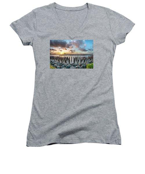 Women's V-Neck T-Shirt (Junior Cut) featuring the photograph Pylons Mill Sunset by Greg Nyquist