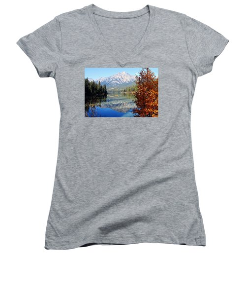 Pyramid Mountain Reflection 3 Women's V-Neck T-Shirt (Junior Cut) by Larry Ricker