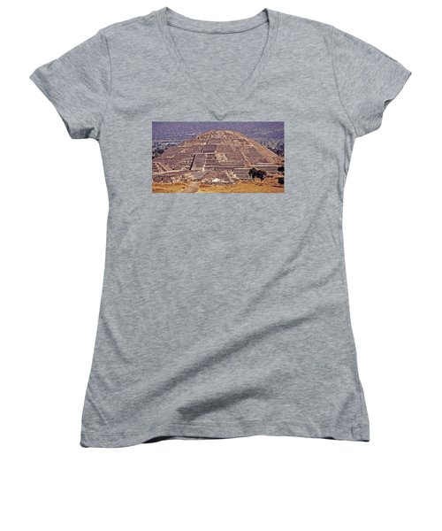 Pyramid Of The Sun - Teotihuacan Women's V-Neck T-Shirt (Junior Cut) by Juergen Weiss
