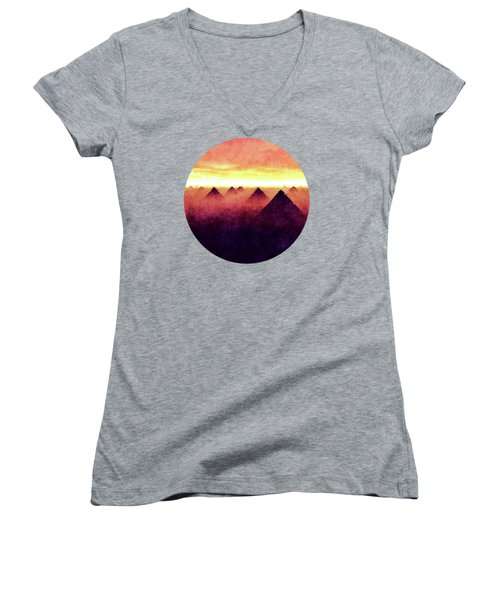Pyramids At Sunrise Women's V-Neck T-Shirt (Junior Cut) by Phil Perkins