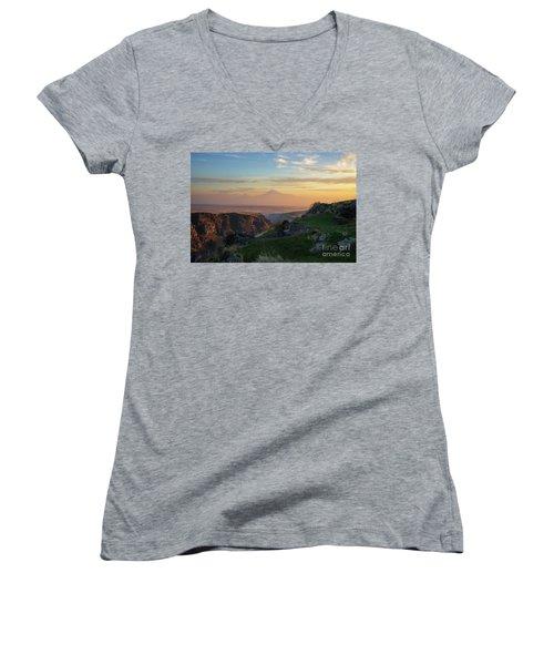 Qasakh Gorge And Ararat Mountain At Golden Hour Women's V-Neck T-Shirt (Junior Cut) by Gurgen Bakhshetsyan