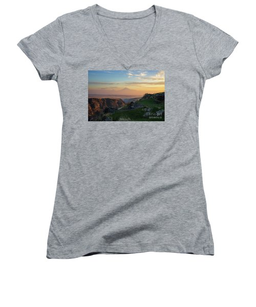 Qasakh Gorge And Ararat Mountain At Golden Hour Women's V-Neck T-Shirt