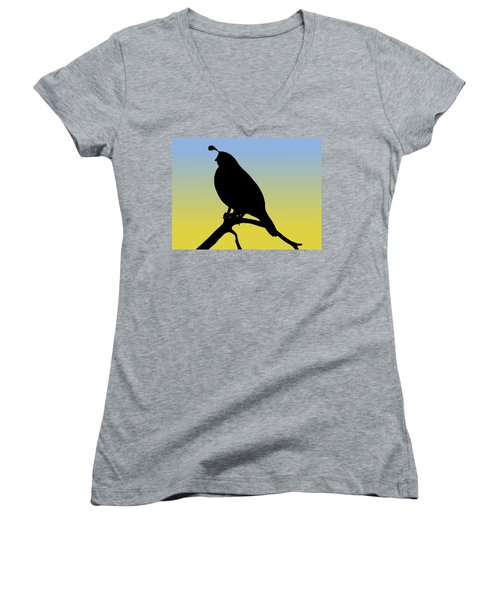 Quail Silhouette At Sunrise Women's V-Neck (Athletic Fit)
