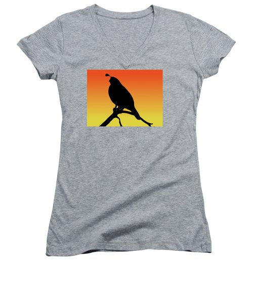 Quail Silhouette At Sunset Women's V-Neck (Athletic Fit)
