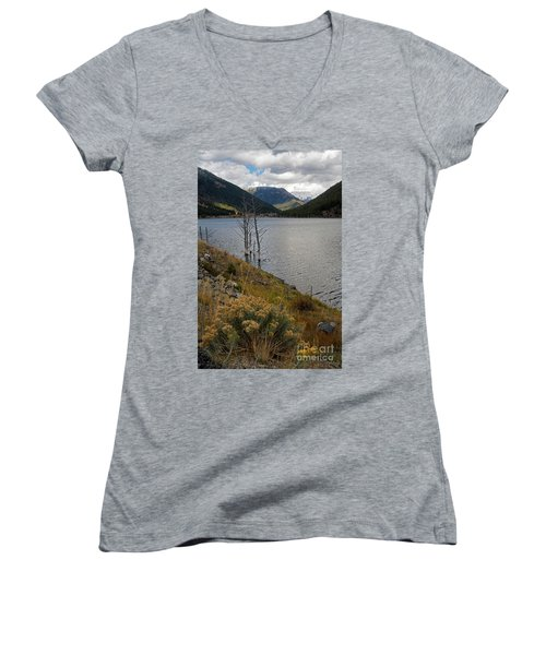 Quake Lake Women's V-Neck T-Shirt (Junior Cut) by Cindy Murphy - NightVisions