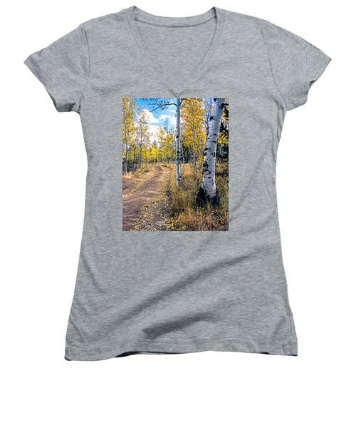 Aspens In Fall With Road Women's V-Neck (Athletic Fit)
