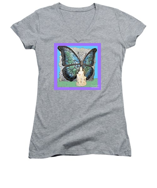 Quan Yin Butterfly Women's V-Neck (Athletic Fit)