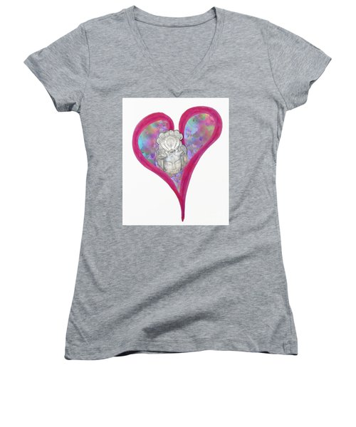 Quan Yin Heart Women's V-Neck (Athletic Fit)