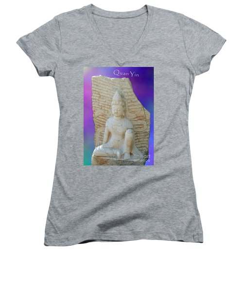 Quan Yin Royal Ease Pose Women's V-Neck (Athletic Fit)