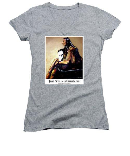 Quanah Parker The Last Comanche Chief II Women's V-Neck T-Shirt