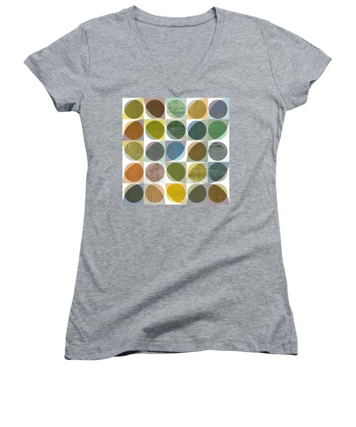 Women's V-Neck T-Shirt (Junior Cut) featuring the digital art Quarter Circles Layer Project Three by Michelle Calkins