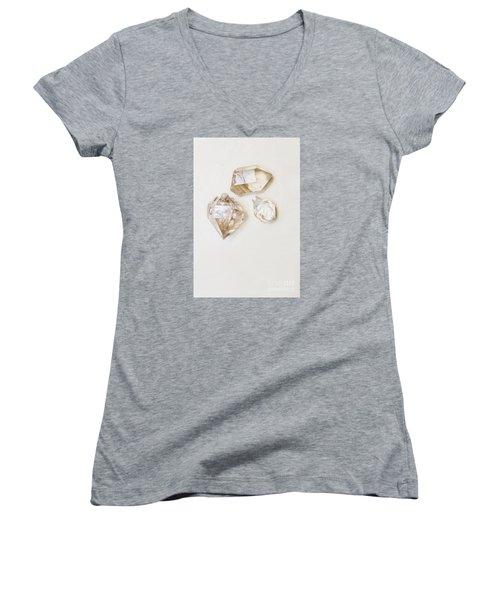 Women's V-Neck T-Shirt featuring the photograph Quartz Crystals by Jorgo Photography - Wall Art Gallery