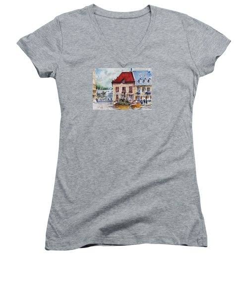 Quebec City Flower Boxes Women's V-Neck (Athletic Fit)