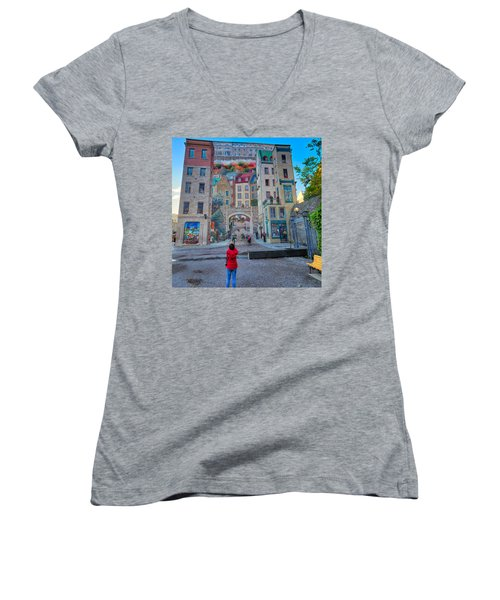 Quebec City Mural Women's V-Neck (Athletic Fit)
