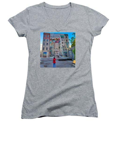 Quebec City Mural Women's V-Neck T-Shirt