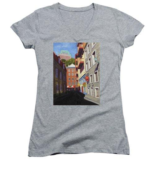 Quebec City Side Street Women's V-Neck T-Shirt (Junior Cut) by Alan Mager